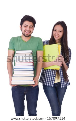 Students with books isolated on white