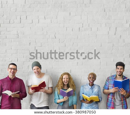 Students Youth Adult Reading Education Knowledge Concept - stock photo