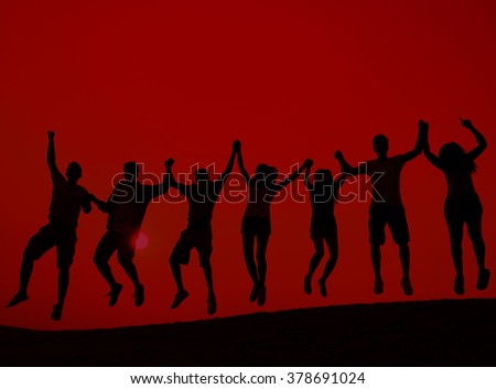 Students Youth Jumping Fun Celebration Concept - stock photo
