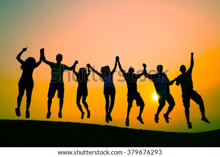 Students Youth Jumping Fun Celebration Concept