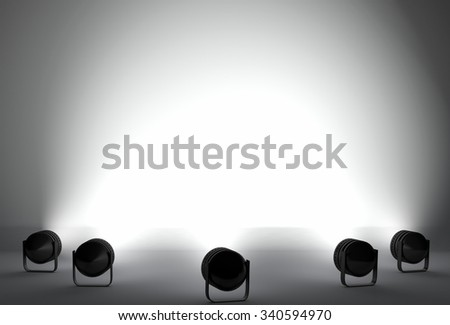 studio and spotlights with background illuminated - stock photo