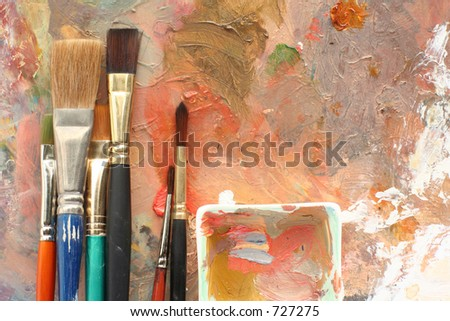 Studio Art 2 palettes & brushes - stock photo