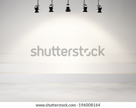 studio background with spotlights - stock photo