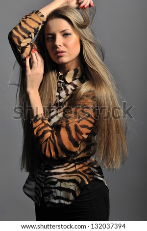 Studio beautiful woman portrait - stock photo