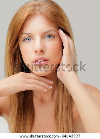 studio beauty portrait young woman blue eyes - stock photo