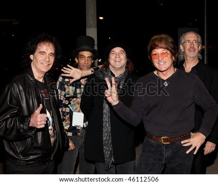STUDIO CITY, CA - JAN 28: Tim Piper (2nd R) & band attends John Lennon last concert Just Imagine starring Tim Piper as John Lennon on January 28, 2009 in Studio City, California. - stock photo
