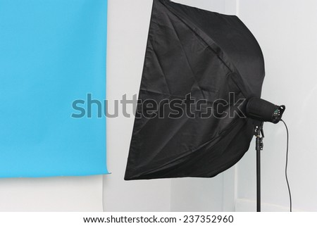 studio equipment closeup with the blue background - stock photo