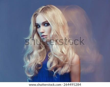 Studio fashion art portrait of young beautiful lady - stock photo