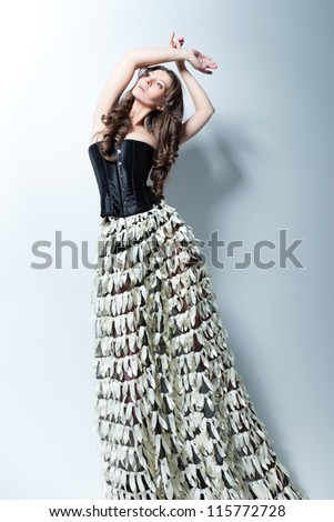 Studio fashion portrait - stock photo