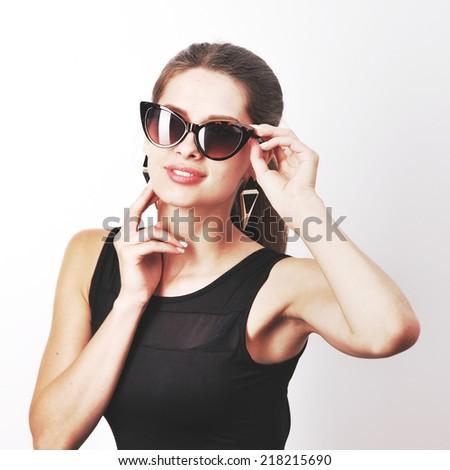 Studio fashion portrait of young  woman. - stock photo