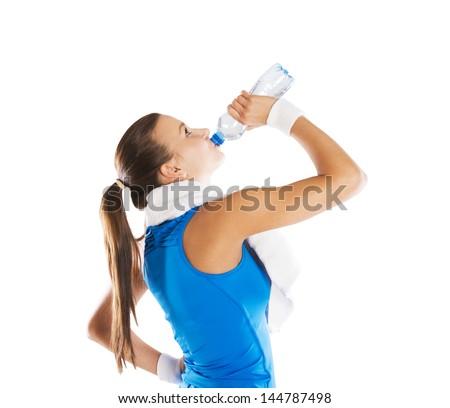 Studio fitness portrait isolated on white background - stock photo