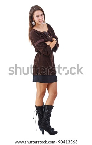 Studio full length body shot of beautiful fashionable brunette woman - stock photo