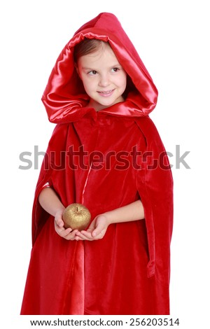 "Studio image of a charming joyful little girl with a sweet smile in a beautiful red velvet cloak and hood on a white background/Fairy tale "" Red Riding Hood"" - stock photo"