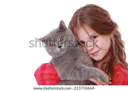 Studio image of a cheerful little girl played with a British breed of cat over white background/Smiley romantic little girl with cat