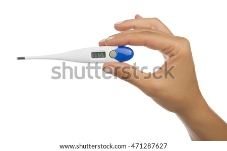 Studio image of an electronic thermometer showing high body temperature of 39.5 degrees Celsius isolated on white background.