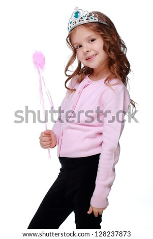 Studio image of fashion victim little princess girl humor portrait crown on Holiday