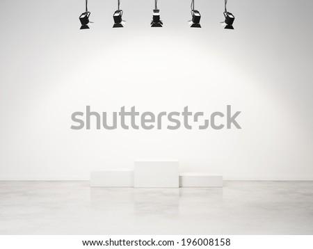 studio interior with empty podium - stock photo