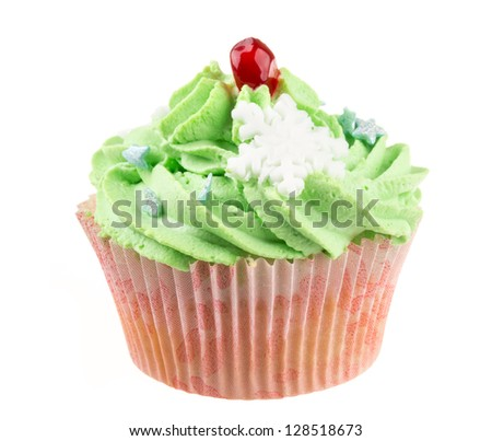 Studio isolated creamy green cupcake