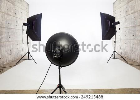 Studio lighting equipment, 2 Softbox and 1 Soft Light - stock photo