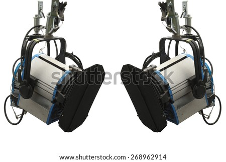 Studio lighting stage equipment isolated over white background - stock photo