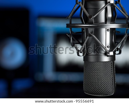 Studio microphone , for music production,audio,entertainment themes - stock photo