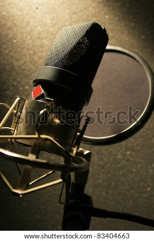 Studio microphone for recording music and songs - stock photo