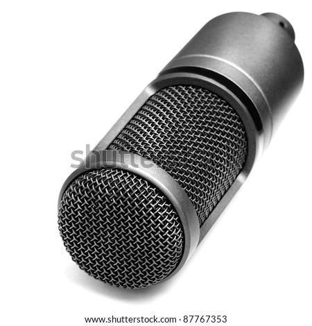Studio microphone for recording music and songs isolated - stock photo