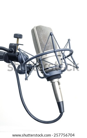 studio microphone isolated on white background - stock photo
