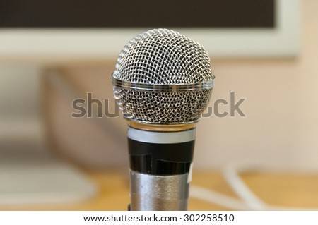 studio microphone on a wooden table