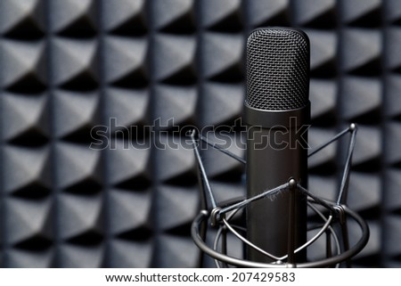 Studio microphone, recording studio, radio station.