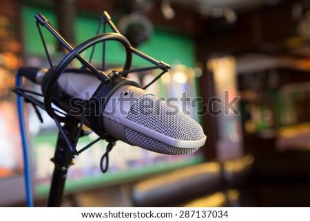 Studio microphones for musical artist - stock photo