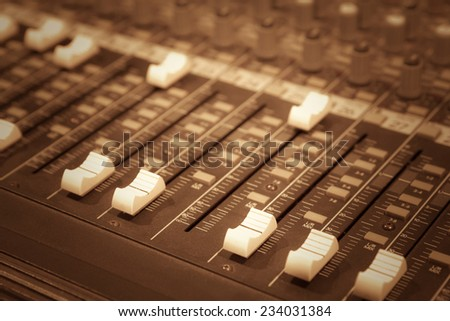 studio mixer fader for music background