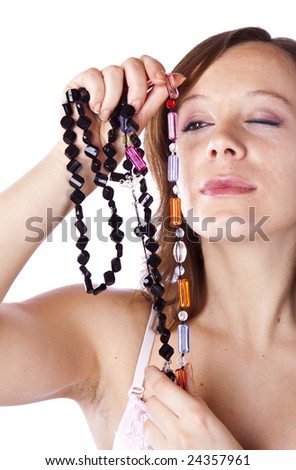 studio photo of beauty girl with necklace