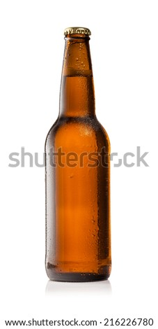 Studio photo of isolated bottle of beer on white background - stock photo