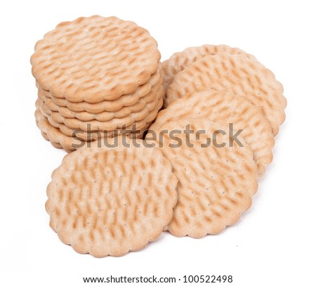 Studio photo of several biscuits over white background on Food theme/Delicious dessert - stock photo