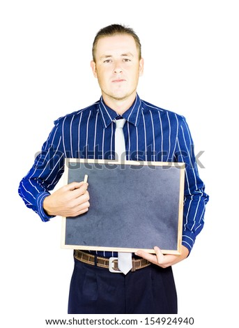 Studio photograph of a business person holding chalk and blank board on white copyspace background - stock photo