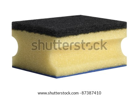 studio photography of a blue, yellow and black cleaning sponge isolated on white