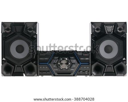 studio photography of a modern compact hi-fi system in white back. Isolate - stock photo