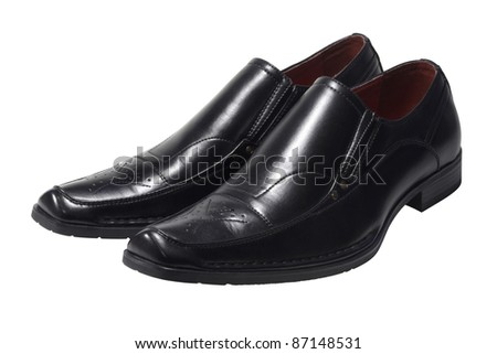 studio photography of a pair of mens shoes in white back - stock photo