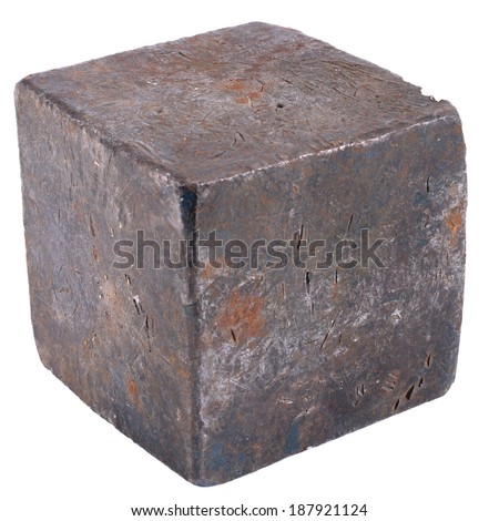 studio photography of a solid metal cube  - stock photo