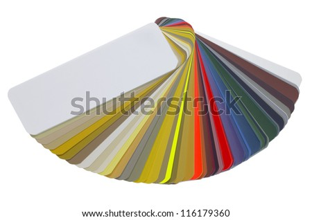 studio photography of a spread color chart isolated with clipping path - stock photo