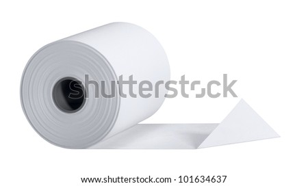 studio photography of a white paper roll isolated on white