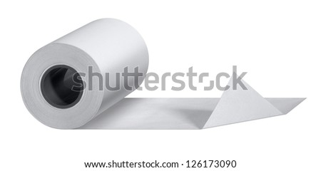 studio photography of a white paper roll isolated on white - stock photo