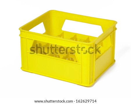 Studio photography of a yellow plastic box for bottles transportation isolated on white