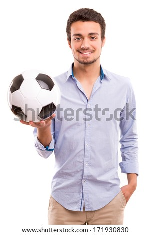 Studio picture of a handsome young football coach - stock photo