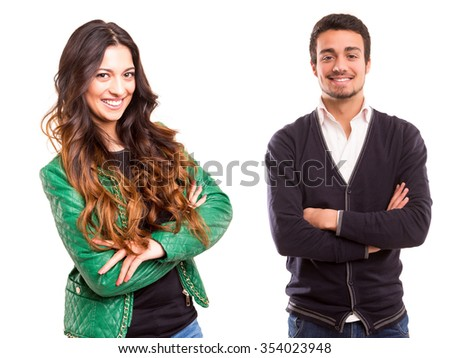 Studio picture of a man and woman, isolated over white - stock photo