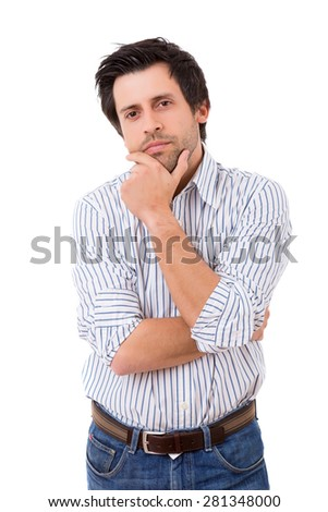 Studio picture of a pensive young man, isolated over white - stock photo