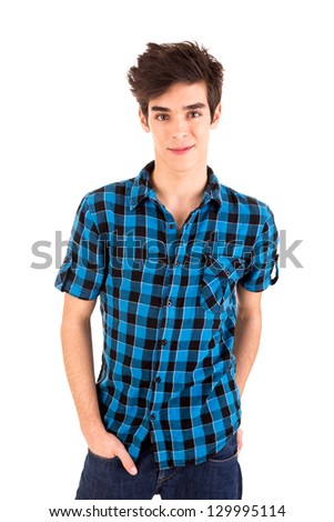 Studio picture of a young and handsome man posing - stock photo