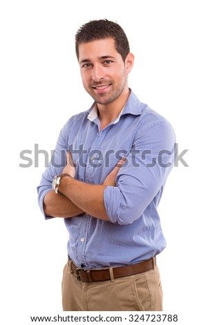 Studio picture of a young and handsome man posing isolated