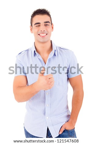 Studio picture of a young handsome man signaling ok - stock photo